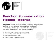 Function Summarization Modulo Theories