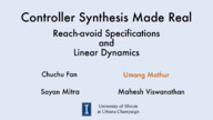 Controller Synthesis Made Real: Reach-avoid Specifications and Linear Dynamics