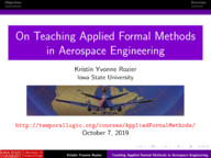 On Teaching Applied Formal Methods in Aerospace Engineering