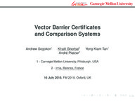 Vector Barrier Certificates and Comparison Systems