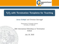 TTT2 with Termination Templates for Teaching