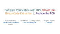 Software Verification with ITPs Should Use Binary Code Extraction to Reduce the TCB (short paper)