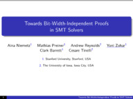 Towards Bit Width Independent Proofs in SMT Solvers
