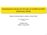 Hypersequent calculus for the logic of conditional belief: preliminary results