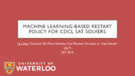 Machine Learning-based Restart Policy for CDCL SAT Solvers