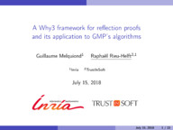 A Why3 framework for reflection proofs and its application to GMP's algorithms