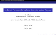 A Generic Framework for Implicate Generation Modulo Theories