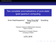 Two complete axiomatisations of pure-state qubit quantum computing