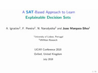 A SAT-Based Approach to Learn Explainable Decision Sets