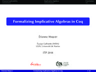 Formalizing Implicative Algebras in Coq