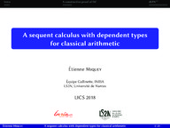 A sequent calculus with dependent types for classical arithmetic
