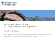A Formalization of the LLL Basis Reduction Algorithm