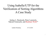 Using Isabelle/UTP for the Verification of Sorting Algorithms: A Case Study