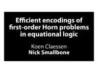 Efficient encodings of first-order Horn formulas in equational logic