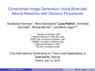 Constrained Image Generation Using Binarized Neural Networks with Decision Procedures