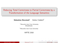 Reducing Total Correctness to Partial Correctness by a Transformation of the Language Semantics